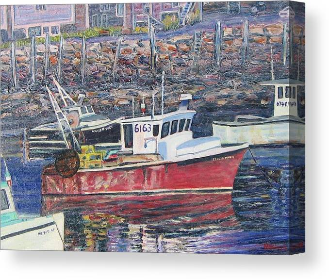 Boat Canvas Print featuring the painting Red Boat Reflections by Richard Nowak