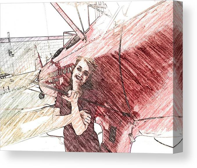 Biplane Canvas Print featuring the photograph A Red Dress And A Biplane by Jared Stoops