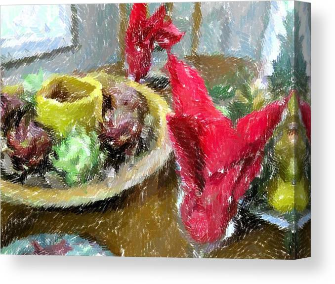 Holiday Canvas Print featuring the photograph Red Napkins by Michael Morrison