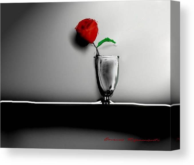 Red Rose Flower Digital Ombre Foglia Fiore Vaso Enrico Ripamonti Italia Canvas Print featuring the digital art Red Rose by Enrico Ripamonti