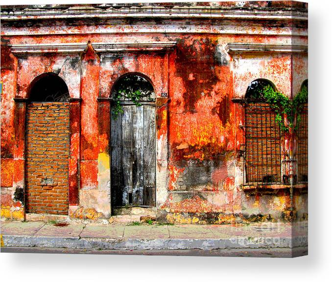 Darian Day Canvas Print featuring the photograph Red Wall By Darian Day by Mexicolors Art Photography