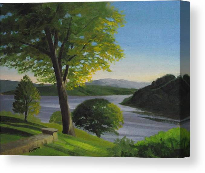 Landscape Canvas Print featuring the painting River Bend by Robert Rohrich
