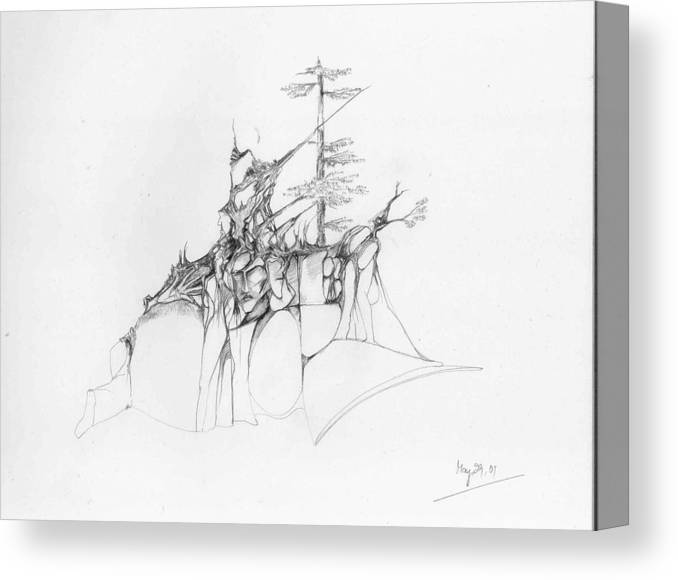 Deodar Canvas Print featuring the drawing Rocks And Trees by Padamvir Singh