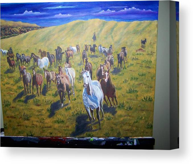 Horses Canvas Print featuring the painting Roundup by Charles Vaughn