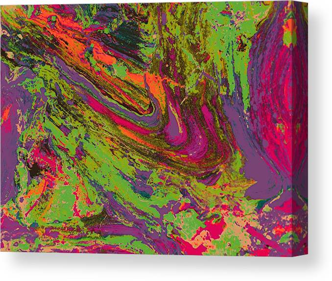 Abstract Prints Canvas Print featuring the digital art Rusted Metal 1 by Teo Santa
