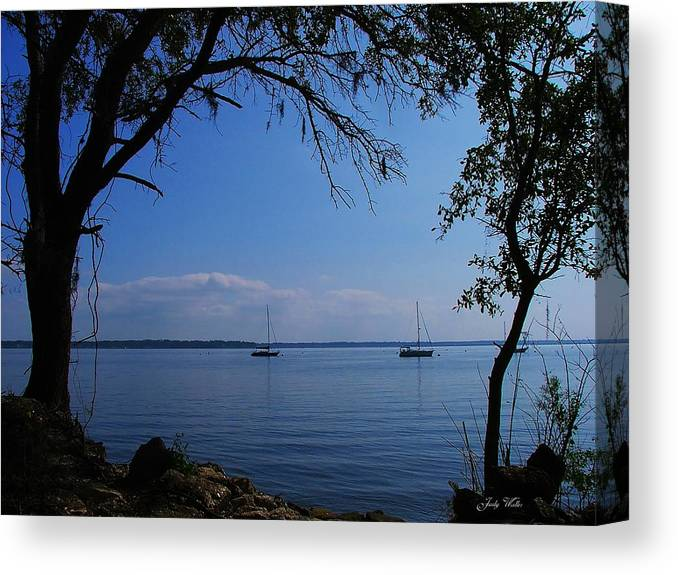 Trees Canvas Print featuring the photograph Sail Boats On The Bay by Judy Waller