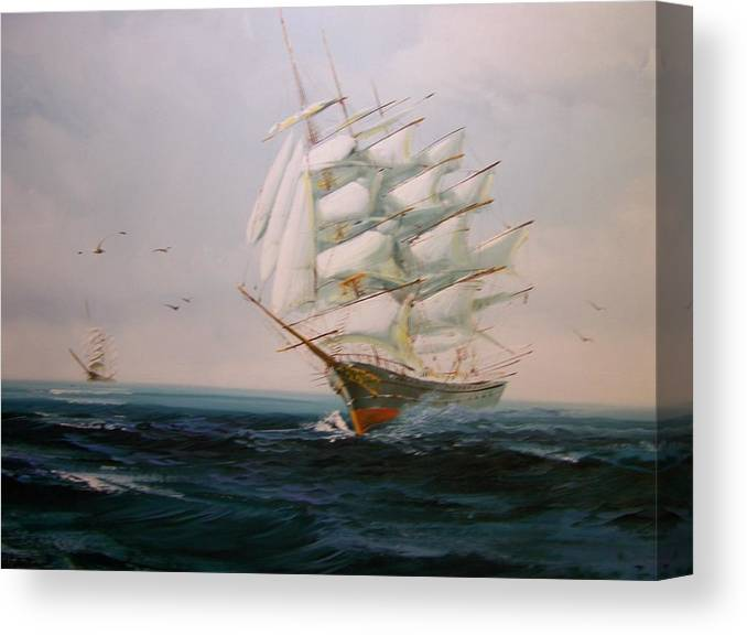 Sailing Canvas Print featuring the painting Sailing Ships The Beauty Of The Sea by Robert E Gebler