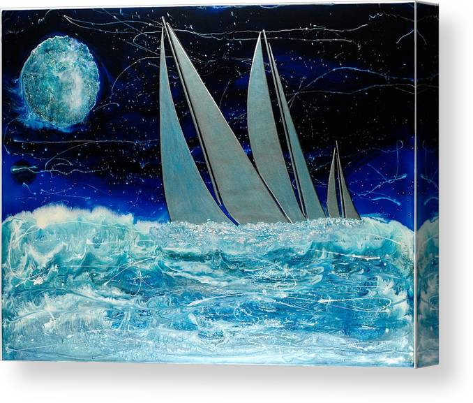 Surrealism Canvas Print featuring the painting Sailors Night Race by Paul Tokarski
