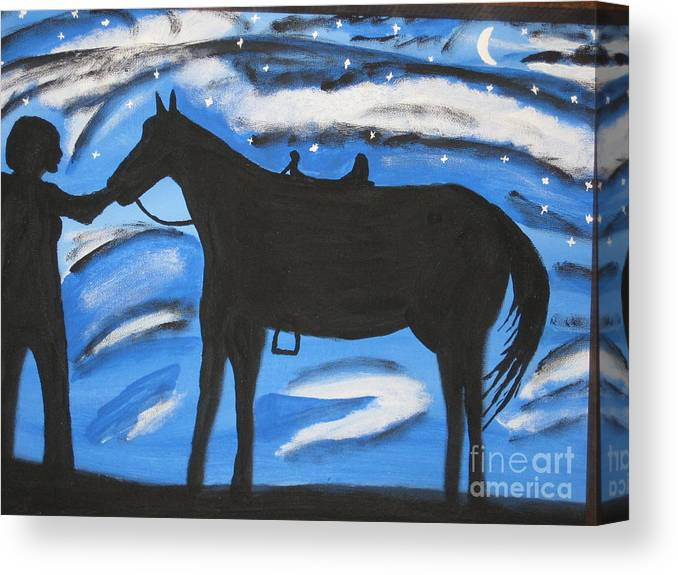 Horse Canvas Print featuring the painting Sally And Sunny by Jeffrey Koss