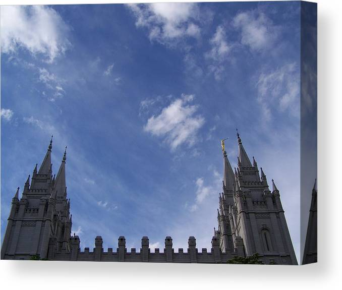 Temple Canvas Print featuring the photograph Salt Lake Temple by Stacey Highfield