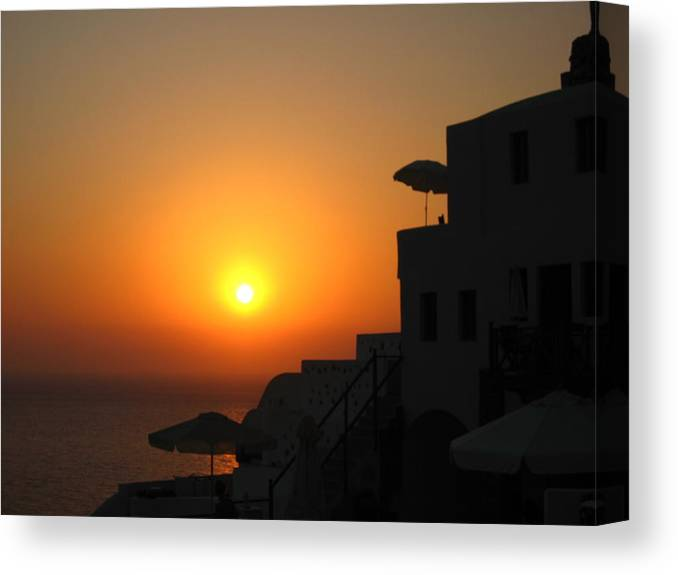 Greece Canvas Print featuring the photograph Santorini Sunset by Ariane Moshayedi