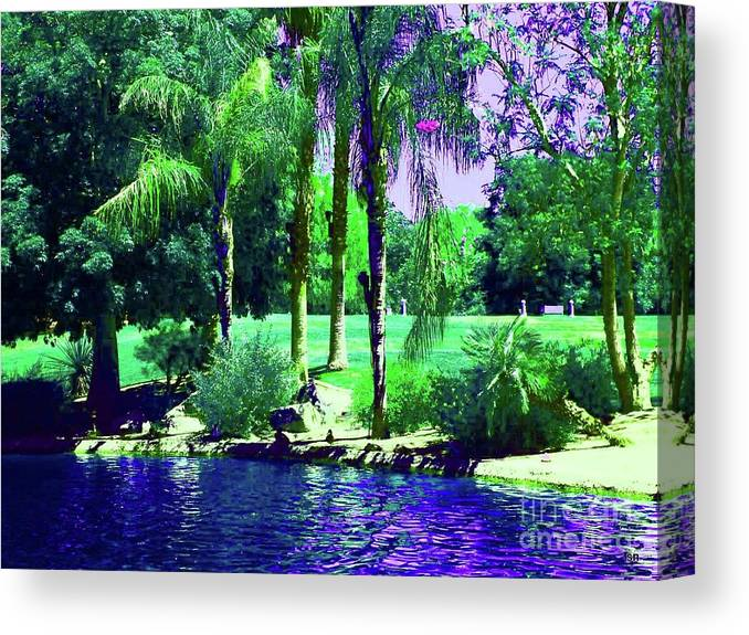 Park Canvas Print featuring the digital art Saturday At The Park by Sherri's - Of Palm Springs