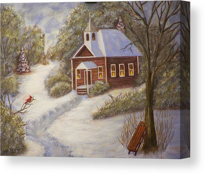 Snowscene Canvas Print featuring the painting Schools Out by Charles Vaughn