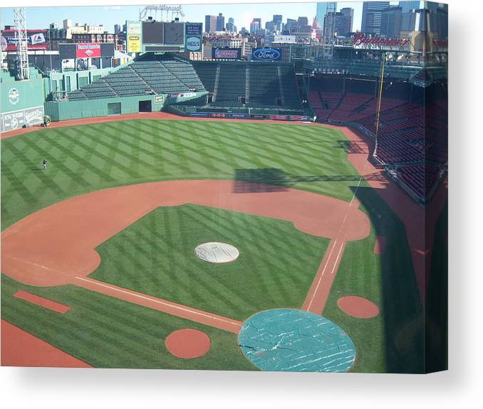 Fenway Park Canvas Print featuring the photograph Shadows Of Fenway Park by Tracy Dugas