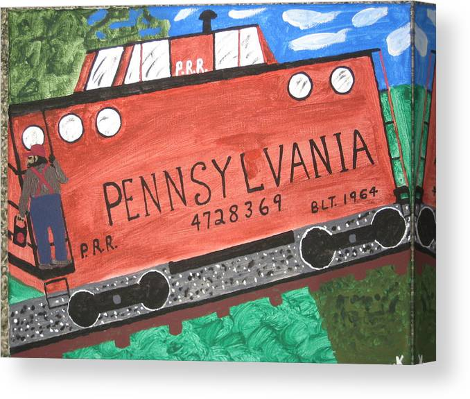 Train Canvas Print featuring the painting Side Tracked In Pa. by Jeffrey Koss
