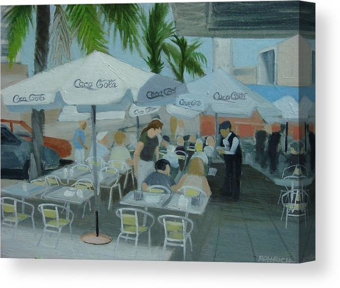 Sidewalk Cafe Canvas Print featuring the painting Sidewalk Cafe Study by Robert Rohrich
