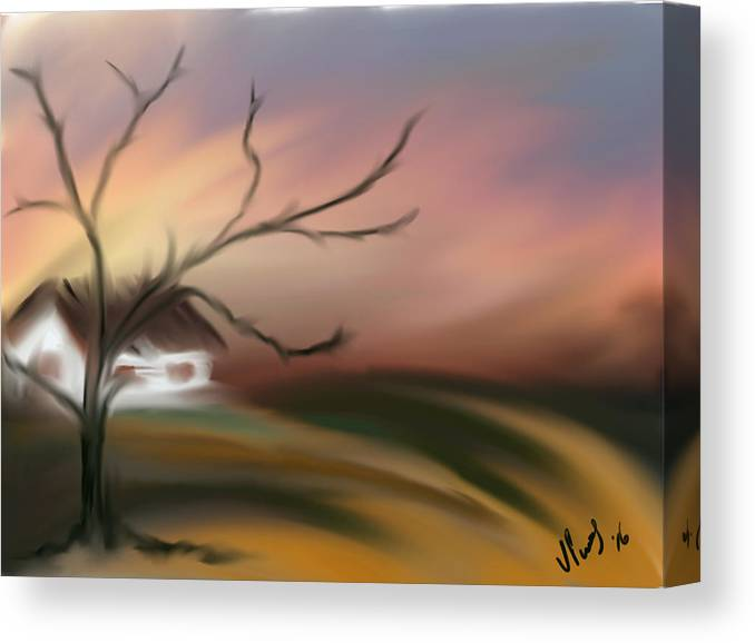 Tree In Sunset With House Canvas Print featuring the digital art Silece by Vanesse Smal