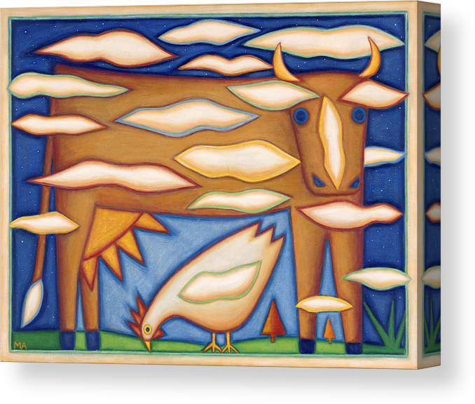 Whimsical Canvas Print featuring the painting Sky Cow by Mary Anne Nagy