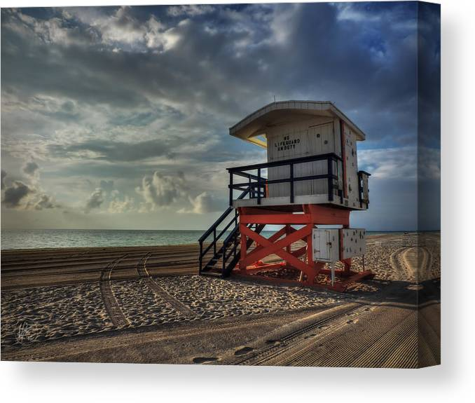 Miami Canvas Print featuring the photograph South Beach Lifeguard Station 004 by Lance Vaughn