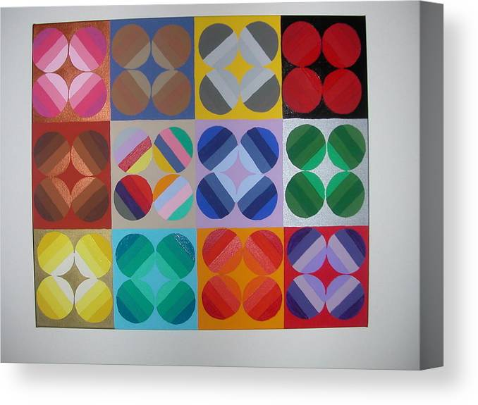 Multi Colored Circles On Squares Canvas Print featuring the painting Square Dancing by Gay Dallek
