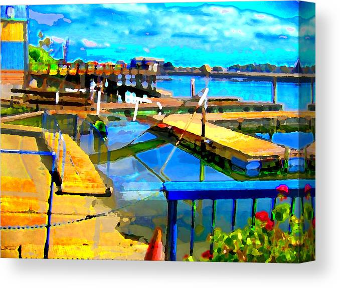 Canvas Print featuring the digital art Stockton Harbor by Danielle Stephenson