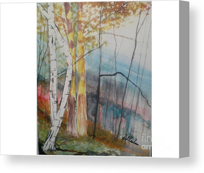 Birch Trees Canvas Print featuring the painting Stoney Brooke Park by Hal Newhouser