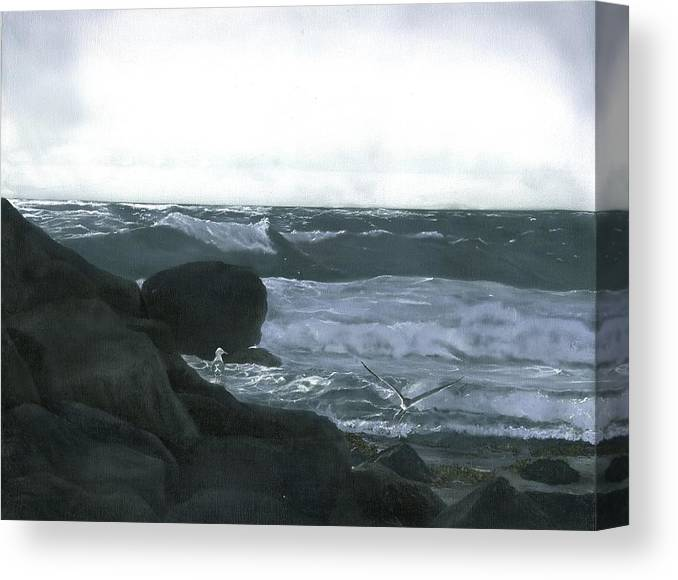 Stormy Flight Canvas Print featuring the painting Stormy Flight by Charles Parks