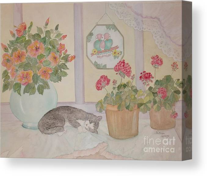 Potted Flowers/geraniums Canvas Print featuring the painting Suncatchers by Patti Lennox