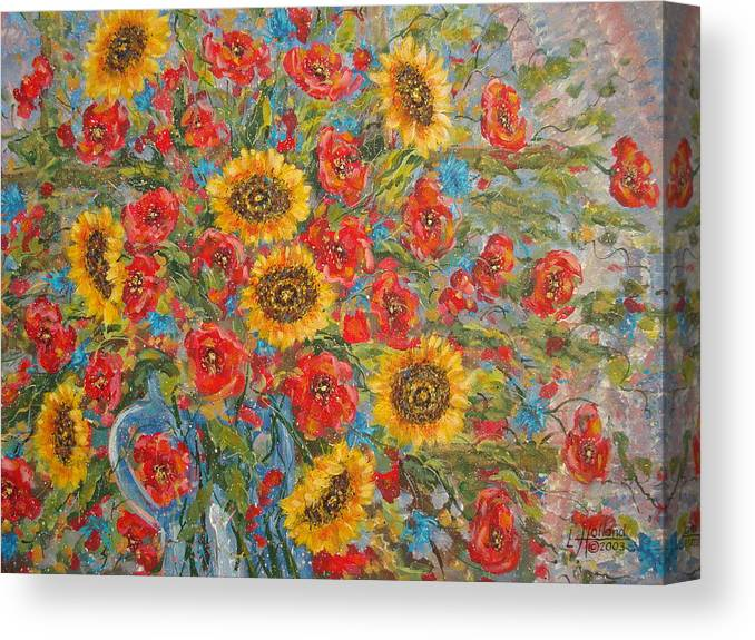 Flowers Canvas Print featuring the painting Sunflowers In Blue Pitcher. by Leonard Holland
