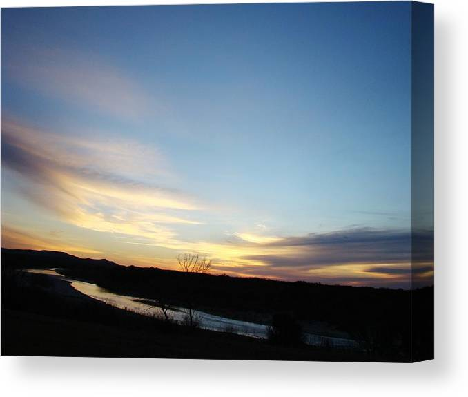Landscape Canvas Print featuring the photograph Sunrise River Two by Ana Villaronga