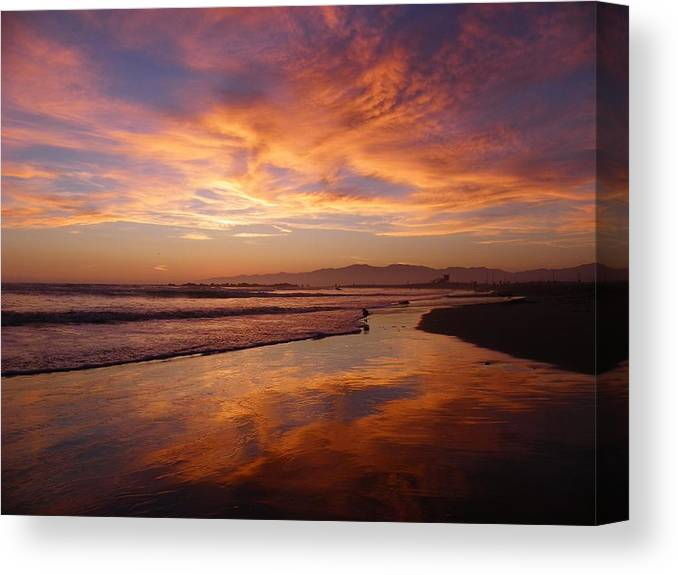 Sunset Canvas Print featuring the photograph Sunset At Venice Beach by Henry Murray