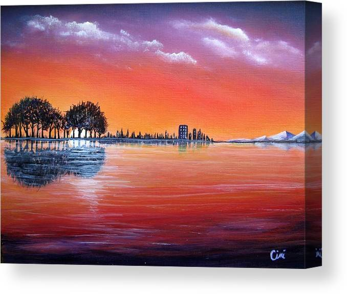 Sunset Canvas Print featuring the painting Sunset Illusion by Lisa Cini