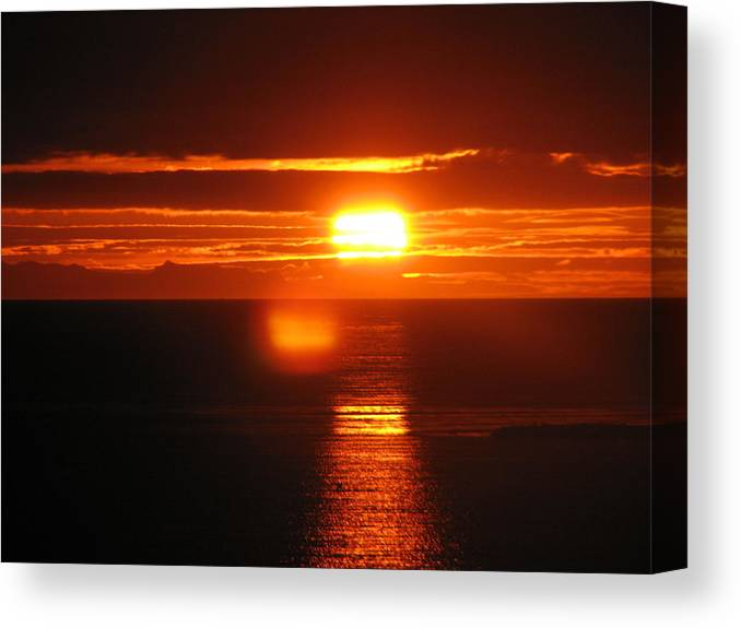 Sunset Canvas Print featuring the photograph Sunset In Reykjavik by Andres Zoran Ivanovic