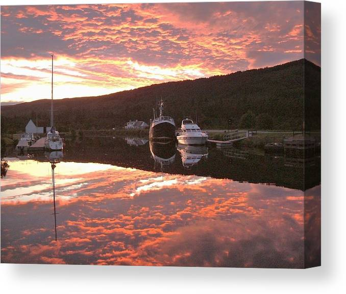 Caledonian Canal Canvas Print featuring the photograph Sunset On Caledonian Canal by Laurence Northcote
