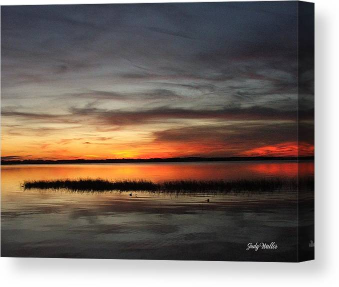 Sunset Canvas Print featuring the photograph Sunset On Lake Lochloosa by Judy Waller