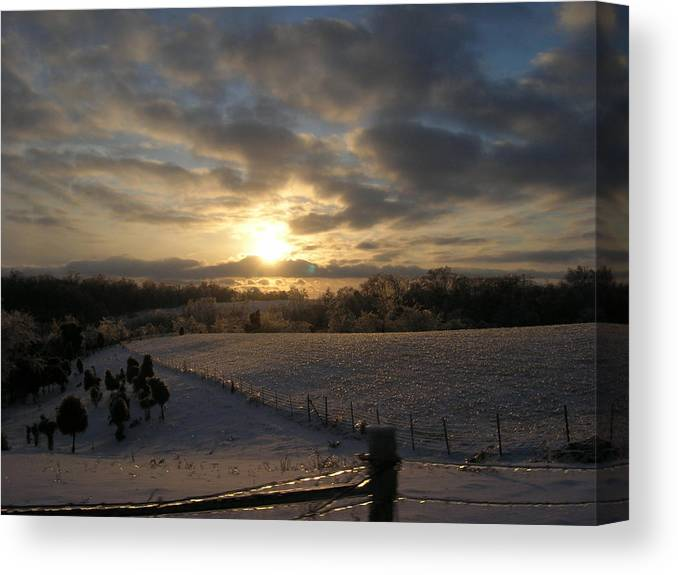 Sunset Canvas Print featuring the photograph Sunset On The Farm by Martie DAndrea