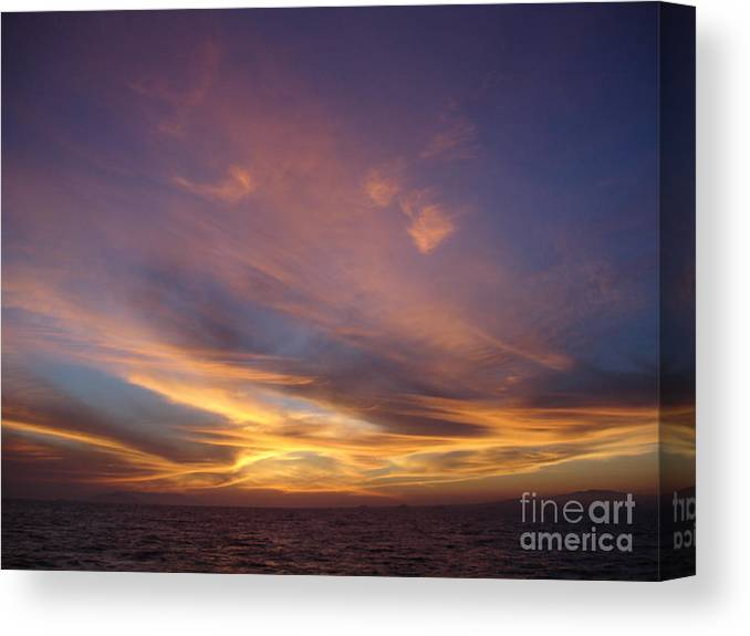 Sunset Canvas Print featuring the photograph Sunset Over Island by Chad Natti