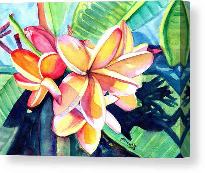 Plumeria Canvas Print featuring the painting Sweet Plumeria 2 by Marionette Taboniar