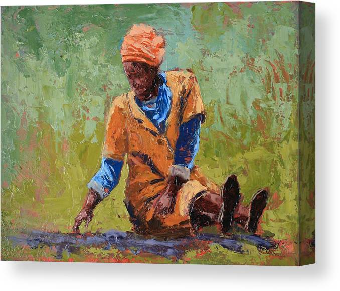 Figures Canvas Print featuring the painting Tea Break by Yvonne Ankerman