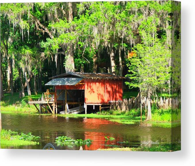 Boathouse Canvas Print featuring the photograph The Boat House by Judy Waller