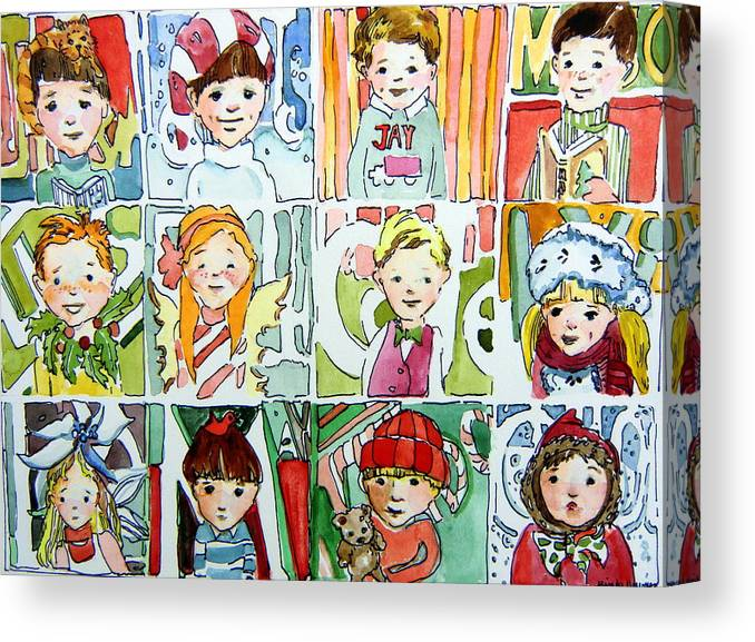 Christmas Canvas Print featuring the painting The Christmas Cousins by Mindy Newman