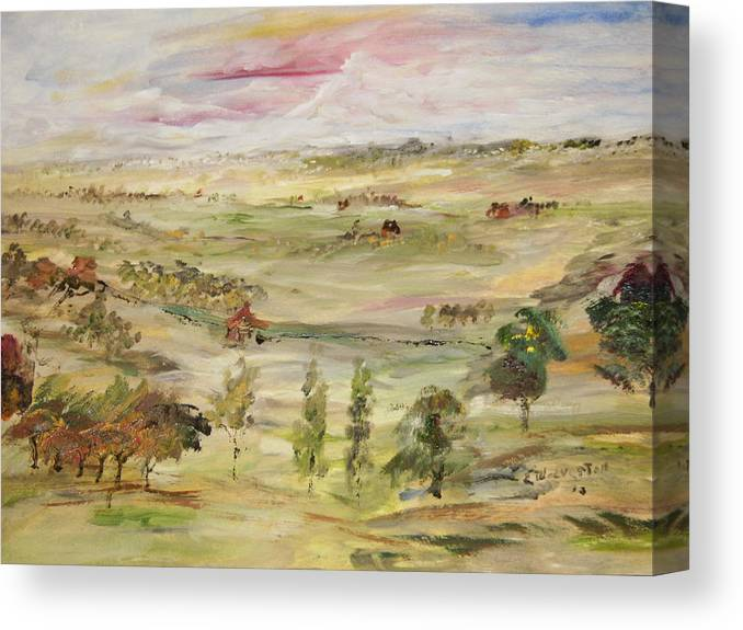 The Range Seems To Go On Forever Canvas Print featuring the painting The Far Away Place by Edward Wolverton