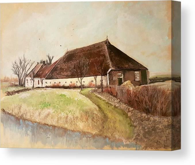 Holland Farmhouse Farm Landscapes Canvas Print featuring the painting The Farm by Carole Hutchison
