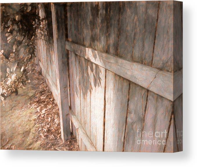 Fence Canvas Print featuring the mixed media The Fence by Susan Lafleur