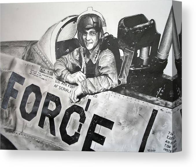 Military Canvas Print featuring the drawing The Good Old Days by Darcie Duranceau
