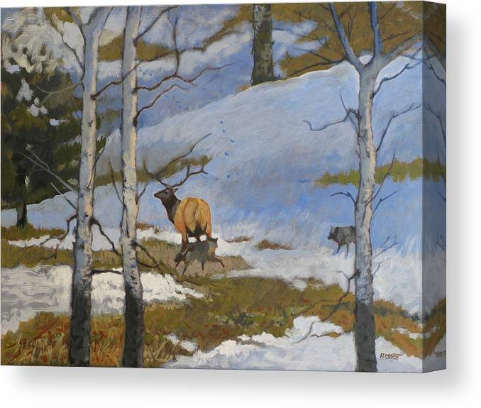 Elk Canvas Print featuring the painting The Hunt by Robert Bissett