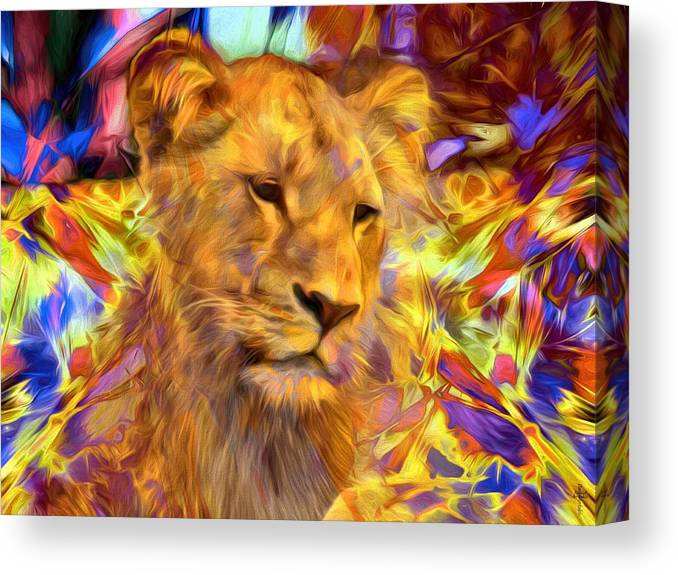 The Lioness Canvas Print featuring the photograph The Lioness by Daniel Arrhakis