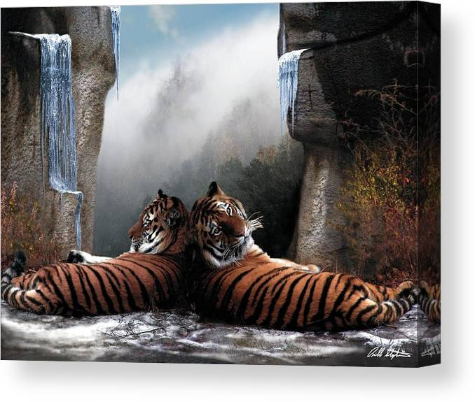 Tigers Canvas Print featuring the digital art The Pass by Bill Stephens