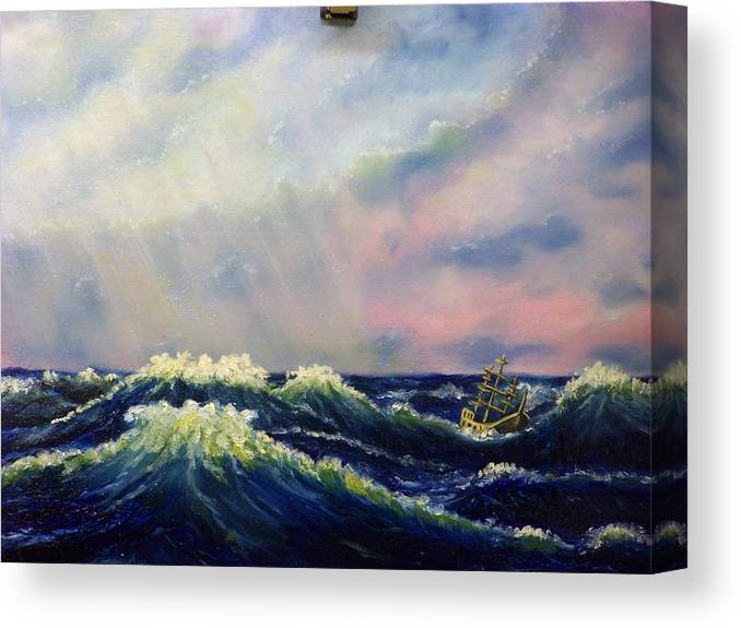 Water Canvas Print featuring the painting The Perfect Storm by Charles Vaughn