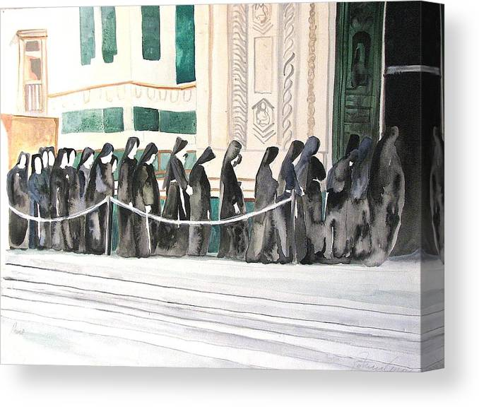 Religious Canvas Print featuring the painting The Prosession by Patricia Arroyo